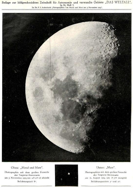 Bedeckung des Mars durch den Mond, 5.11.1924, Archenhold-Sternwarte