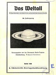 Das Weltall, Titel des 38. Jahrgangs (1938)